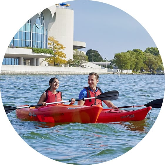 Make a Life in Wisconsin. Kayak on Lake Monona in Madison, WI.